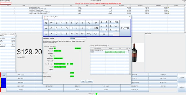 POS register with customer tracking
