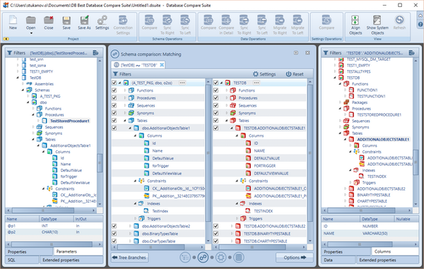 Database Compare Suite schema comparisons screenshot