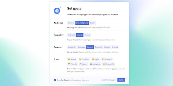 Grammarly Business goal setting