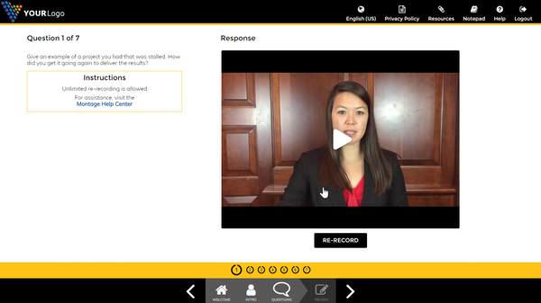 Interview recording screen