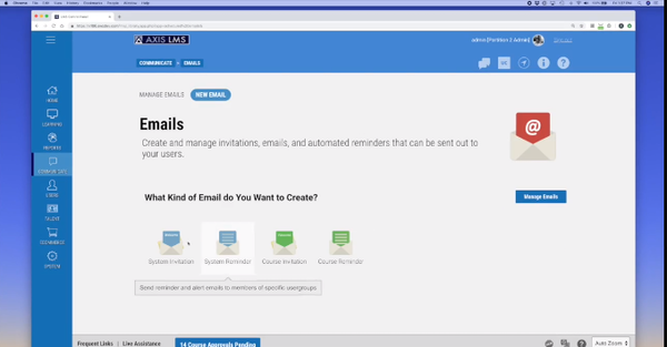 Axis LMS communication forum screenshot