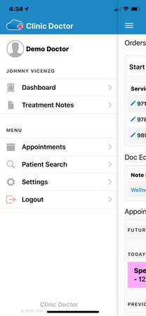 ClinicDr navigation menu