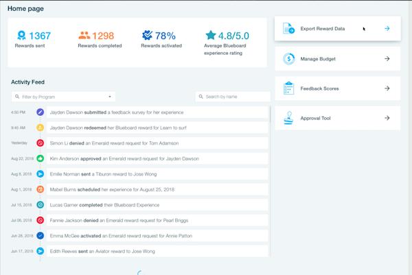 Blueboard admin home dashboard