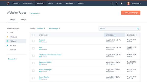 HubSpot CMS Hub website management