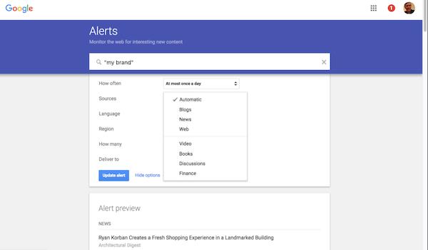 Google Alerts web monitoring