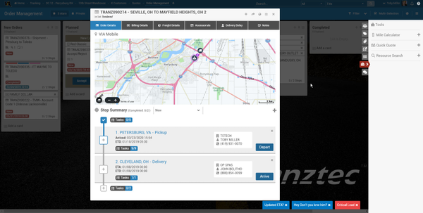 VIA delivery tracking