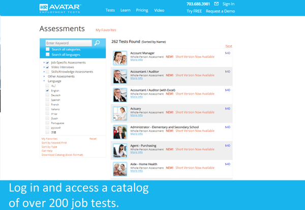 HR Avatar assessments