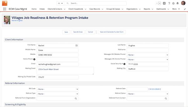 Exponent Case Management program intake