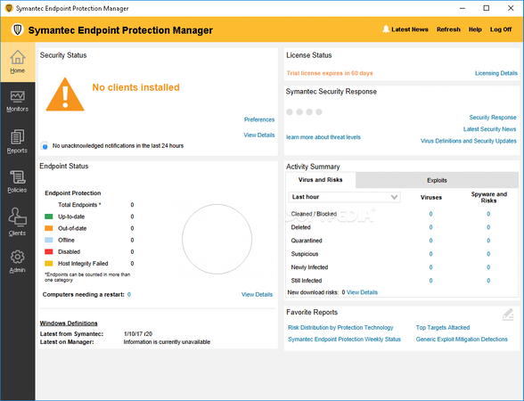 Symantec Endpoint Protection - Symantec Endpoint Protection Dashboard