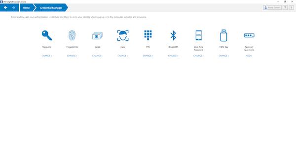 DigitalPersona credential management