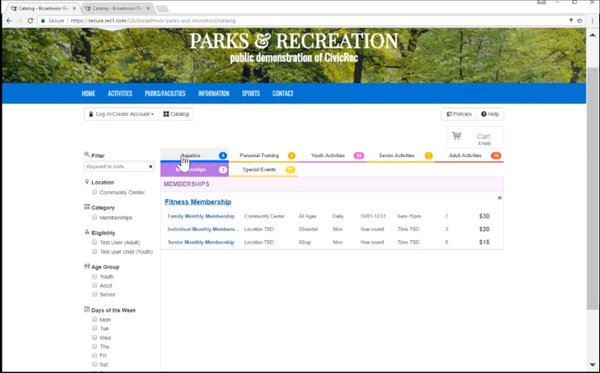 CivicRec membership management screenshot