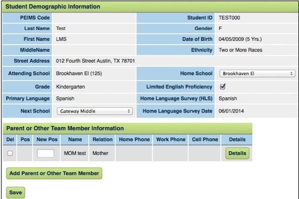 EasyIEP students' demographic information records