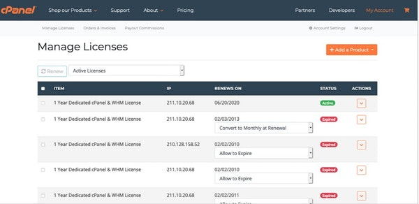 cPanel & WHM license management