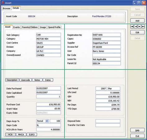 Asset4000 asset details screenshot