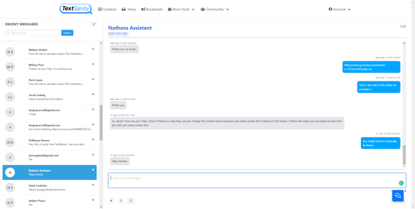 TextSanity recent messages screenshot