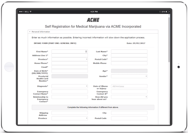 Cannabis Patient Manager self-registration form