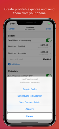 Telstra Trades Assist quote management screenshot