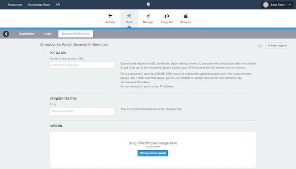 Ambassador Referral Marketing browser preferences screenshot