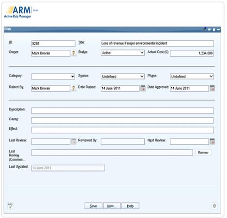 Active Risk Manager risk entry screenshot