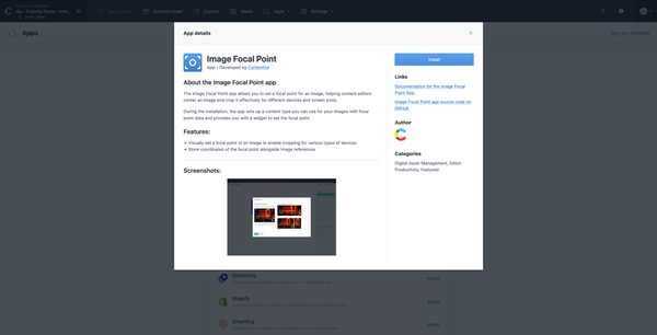 Contentful - apps installation, focal point