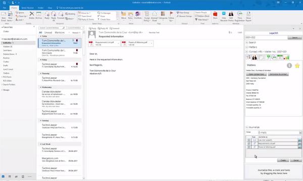 Legal 365 Microsoft Outlook integration
