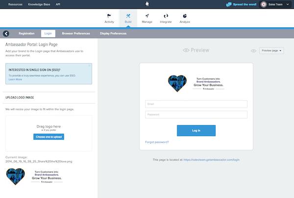 Ambassador Referral Marketing login page screenshot