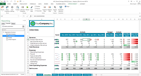 Adaptive Insights 1-click reports in Office