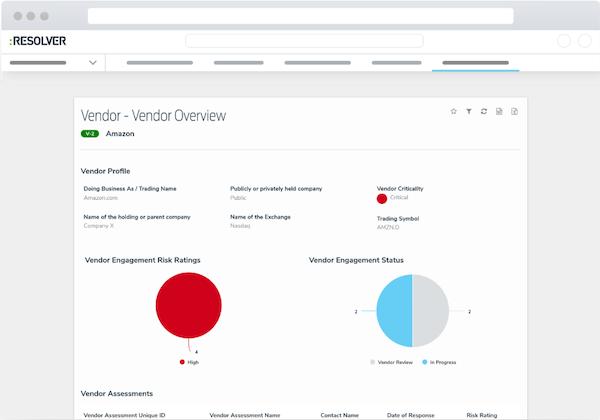 Vendor Risk Management Software  vendor overview screenshot