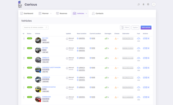 RentSyst vehicles screenshot