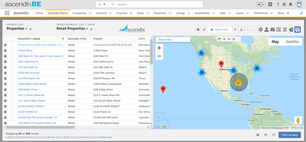 Ascendixre Advanced Property Search Using Map and multiple criteria