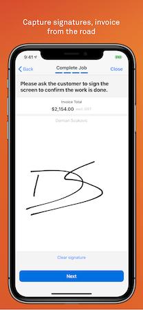 Telstra Trades Assist electronic signature screenshot