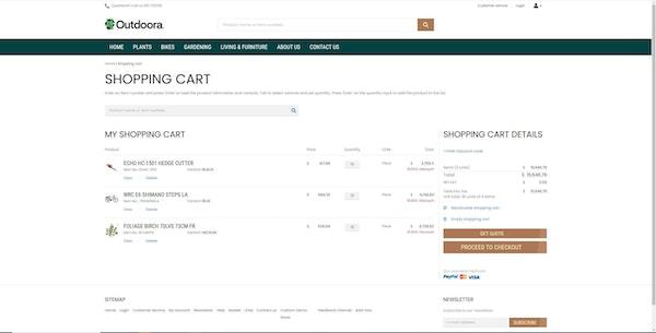 Sana Commerce shopping cart