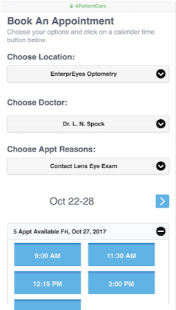 4PatientCare appointment scheduling form
