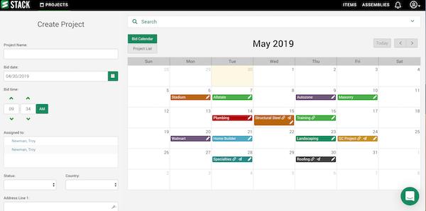STACK Takeoff & Estimating - Bid calendar