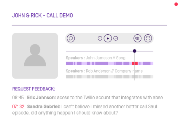 Gong.io request feedback screenshot