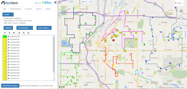 RouteSavvy route planner screenshot