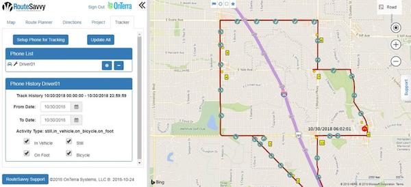 RouteSavvy tracker screenshot