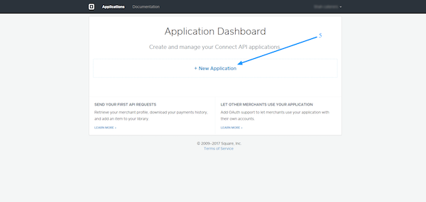 Square Payments application dashboard