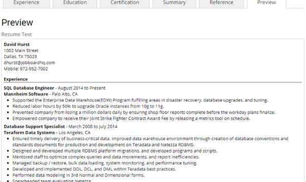 JobBoardHQ resume options screenshot