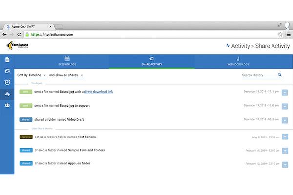 ExaVault activity dashboard