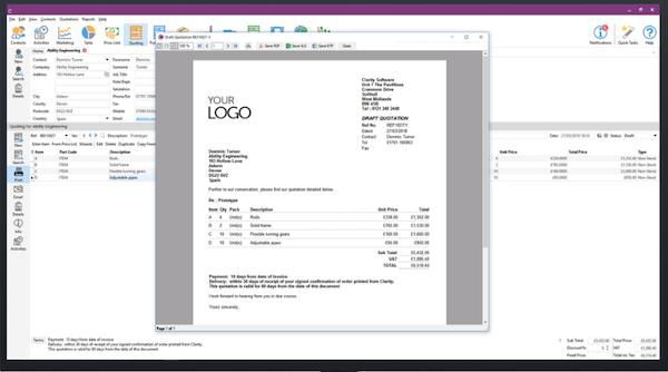 Clarity Software invoice screenshot