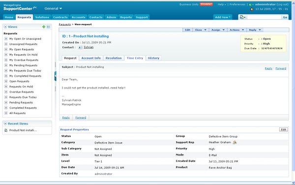 ManageEngine SupportCenter Plus customer request screenshot