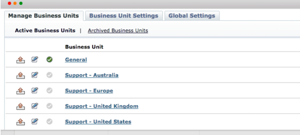 ManageEngine SupportCenter Plus manage business units screenshot