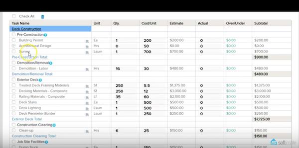 Softimate estimate sheet screenshot