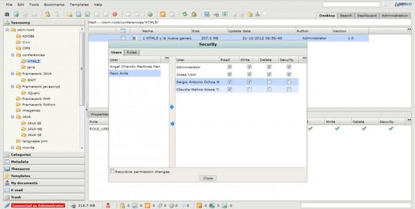 OpenKM granular security management screenshot