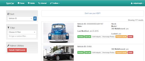 SpinCar VDP screenshot