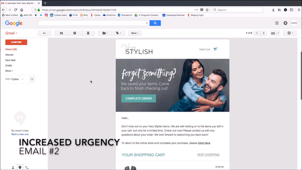Cybba Email Remarketing email reminders screenshot