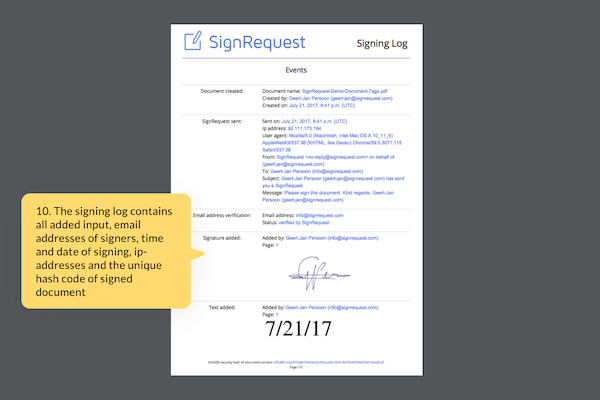 SignRequest signing log