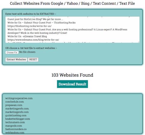 Websites found