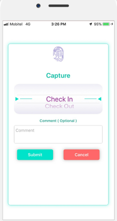 MiHCM mobile check-in screenshot
